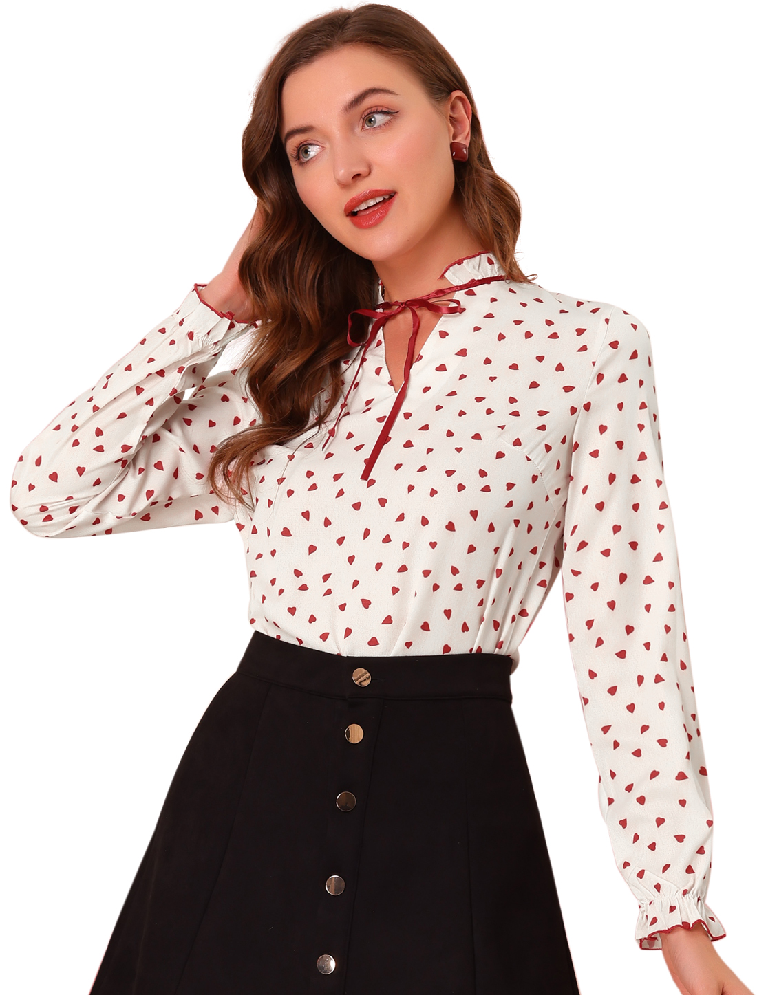 Allegra K Women's Tie Ruffled Neck Polka Dots Blouse Tops Beige Red M