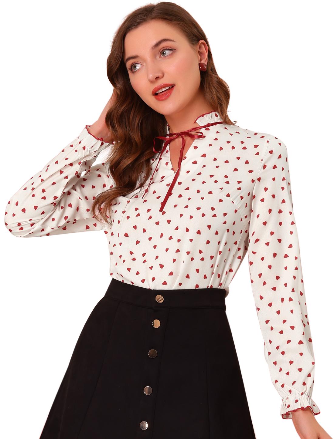Allegra K Women's Tie Ruffled Neck Polka Dots Blouse Tops Beige Red XL