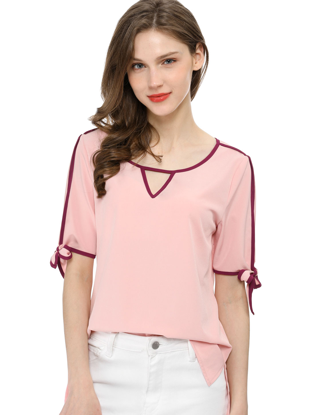 Allegra K Women V Cut-out Front Contrast Bow Tie Cuffs Top Pink L