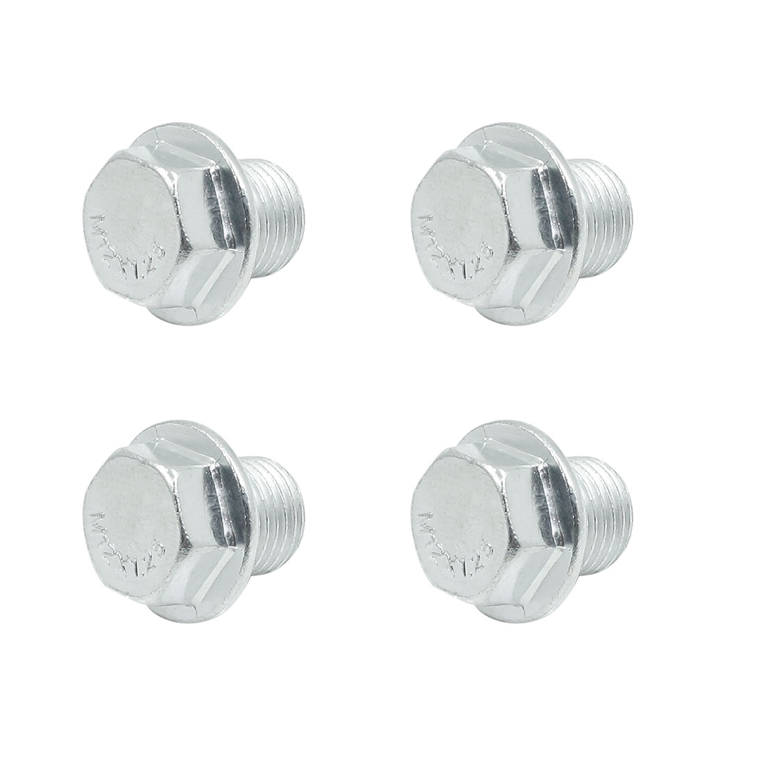 4pcs 20 x 19mm Auto Car Silver Tone Magnetic Engine Oil Pan Drain Plug Bolt