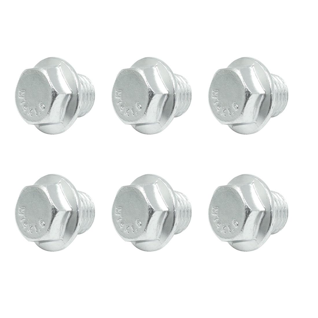 6pcs 23.5 x 21.5mm Car Silver Tone Magnetic Engine Oil Pan Drain Plug Bolt