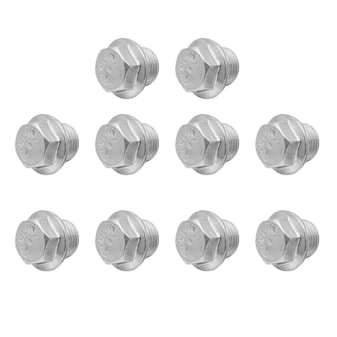 10pcs 24 x 21.5mm Car Silver Tone Magnetic Engine Oil Pan Drain Plug Bolt