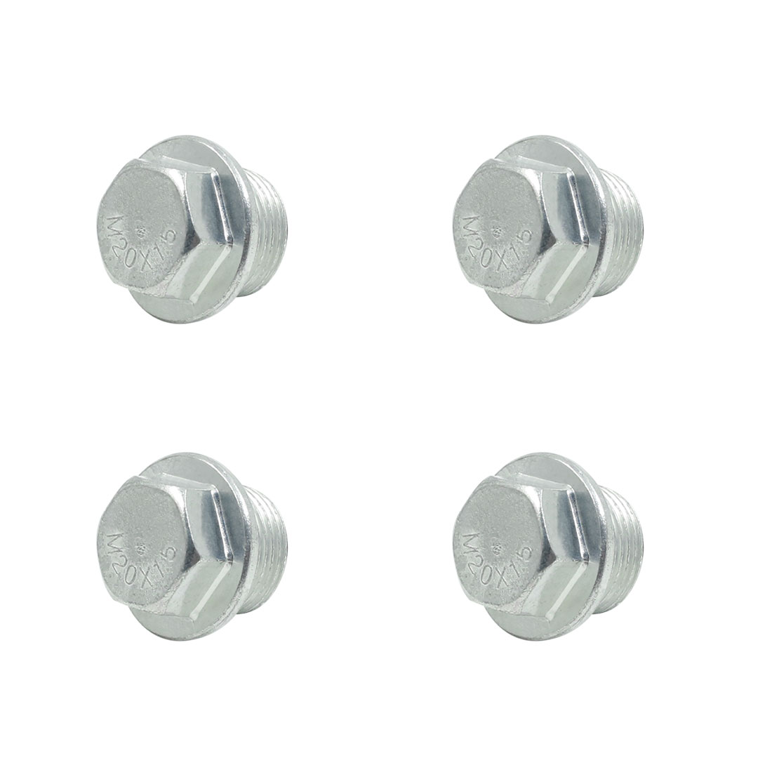 4pcs 28 x 23mm Auto Car Silver Tone Magnetic Engine Oil Pan Drain Plug Bolt