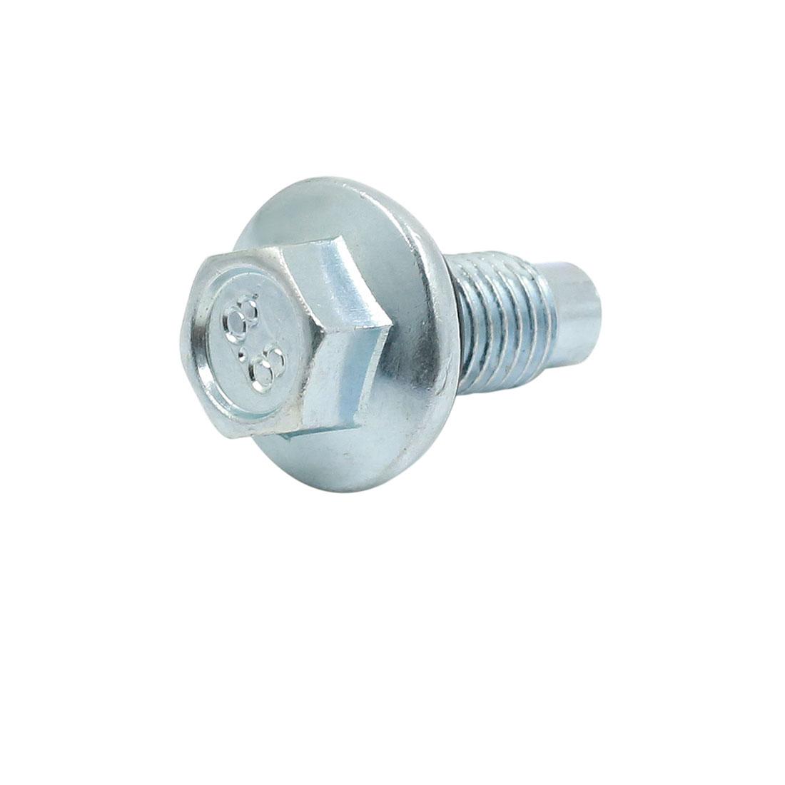 26 x 37mm Silver Tone Magnetic Engine Oil Pan Drain Plug Bolt for Auto Car