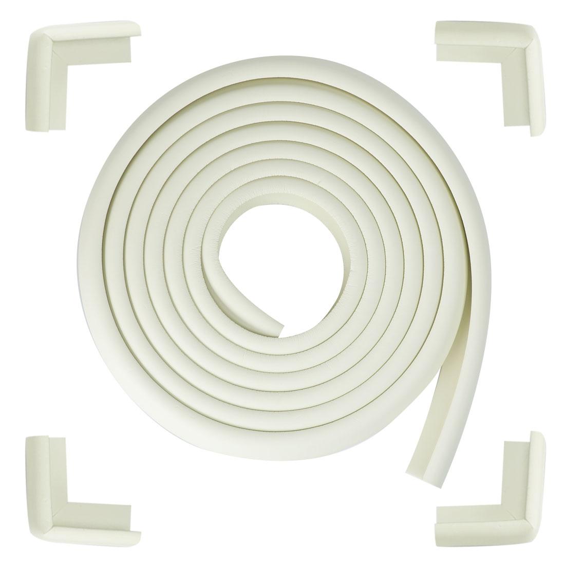 16.4ft + 4 Corner Cushions Desk Edge Corner Cushion Guard Protector, White Set