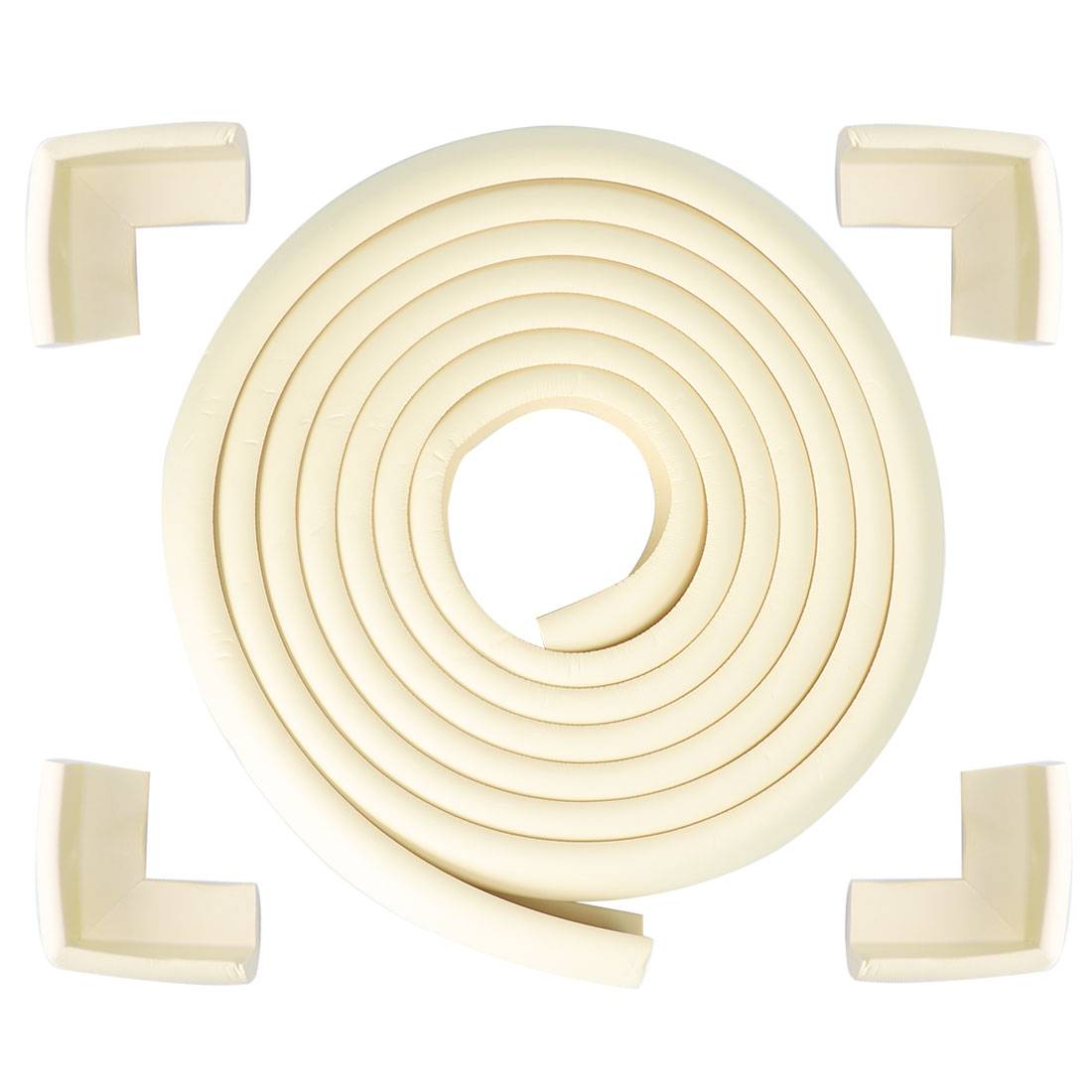 16.4ft + 4 Corner Cushions Desk Edge Foam Corner Cushion Guard Protector, Beige