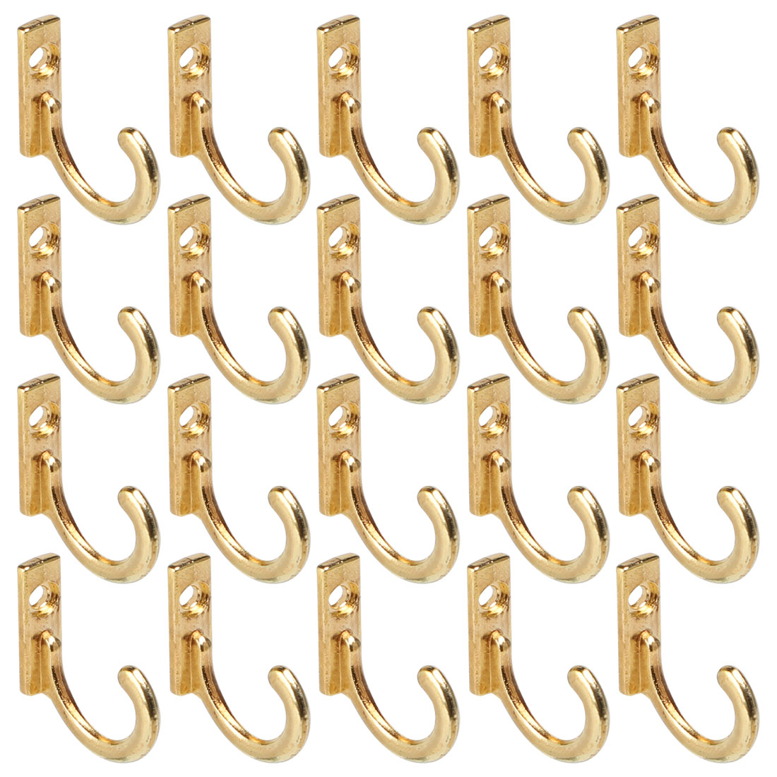 20pcs Robe Hooks Zinc Alloy Hook Key Bathroom DIY Hanger w Screws, Gold Tone