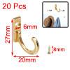 20pcs Robe Hooks Zinc Alloy Hook Key Bathroom DIY Hanger w Screws, Gold Tone