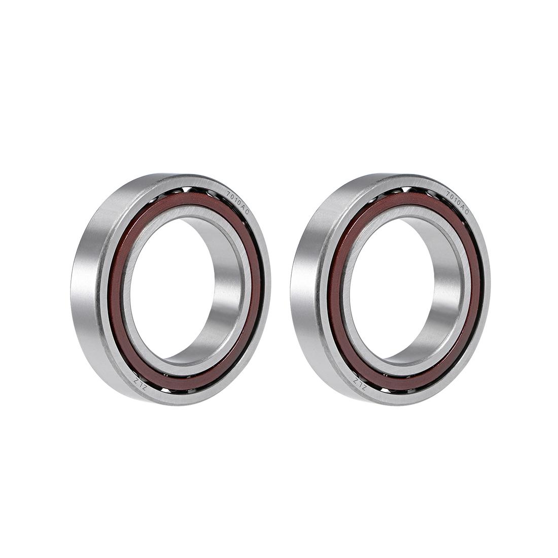 7010AC Angular Contact Ball Bearing 50x80x16mm, Single Row, Open Type 2pcs