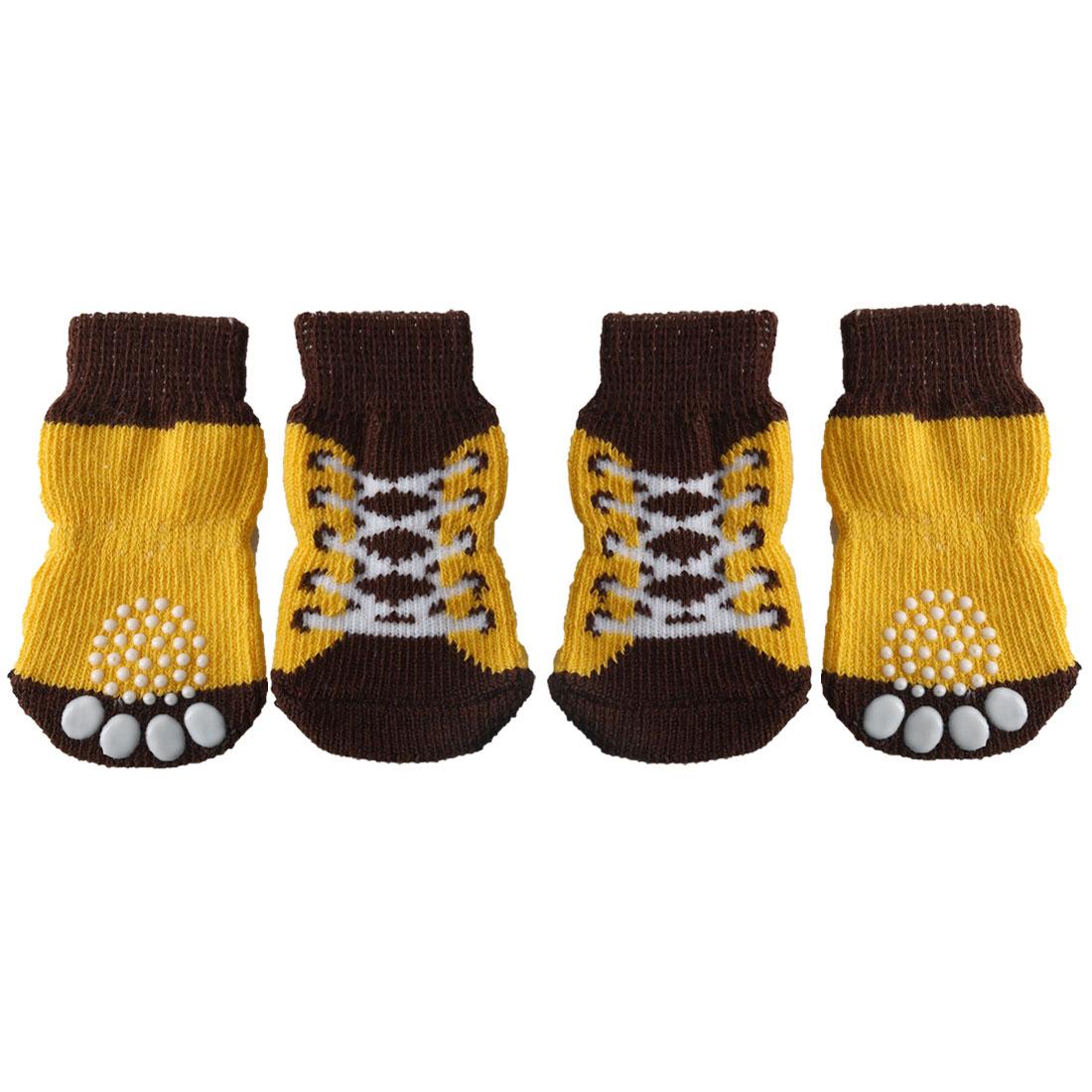 4 PCS Puppy Dog Cat Socks Warm Anti-Slip Knit Paw Protector Brown + Yellow, M