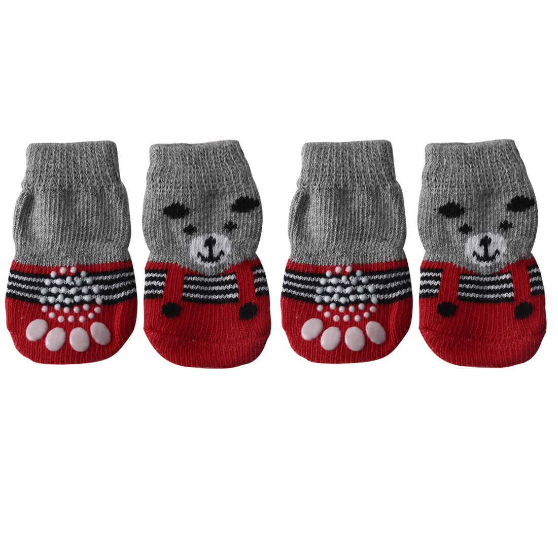 4 PCS Puppy Dog Cat Socks Warm Soft Anti-Slip Knit Paw Protector Grey + Red, S