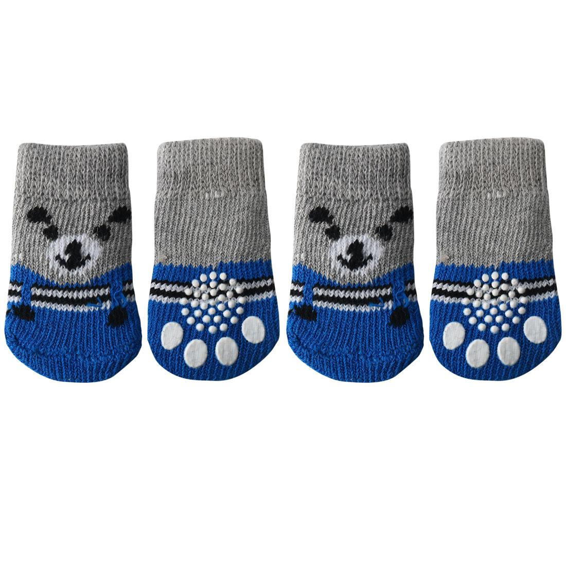 4 PCS Puppy Dog Cat Socks Warm Soft Anti-Slip Knit Paw Protector Grey + Blue, L