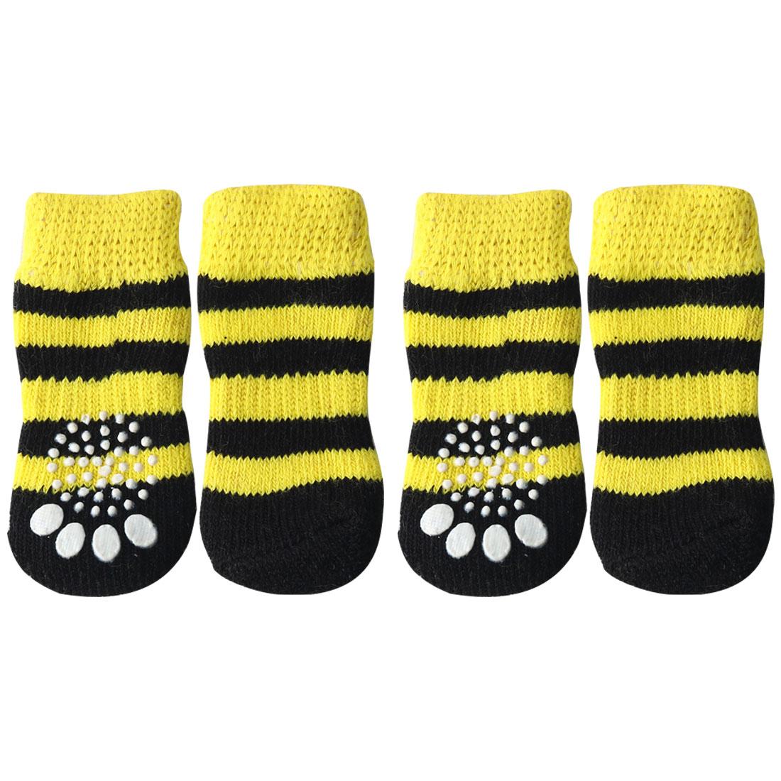 4 PCS Puppy Dog Cat Socks Warm Anti-Slip Knit Paw Protector Black + Yellow, M
