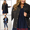 Women Plus Size Stitching Button Front Washed Denim Jacket Blacks 2X