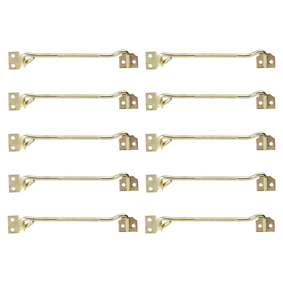 8 Inch Cabin Hooks Thicken Eye Latch Hooks for Slide Window Gold Tone, 10pcs