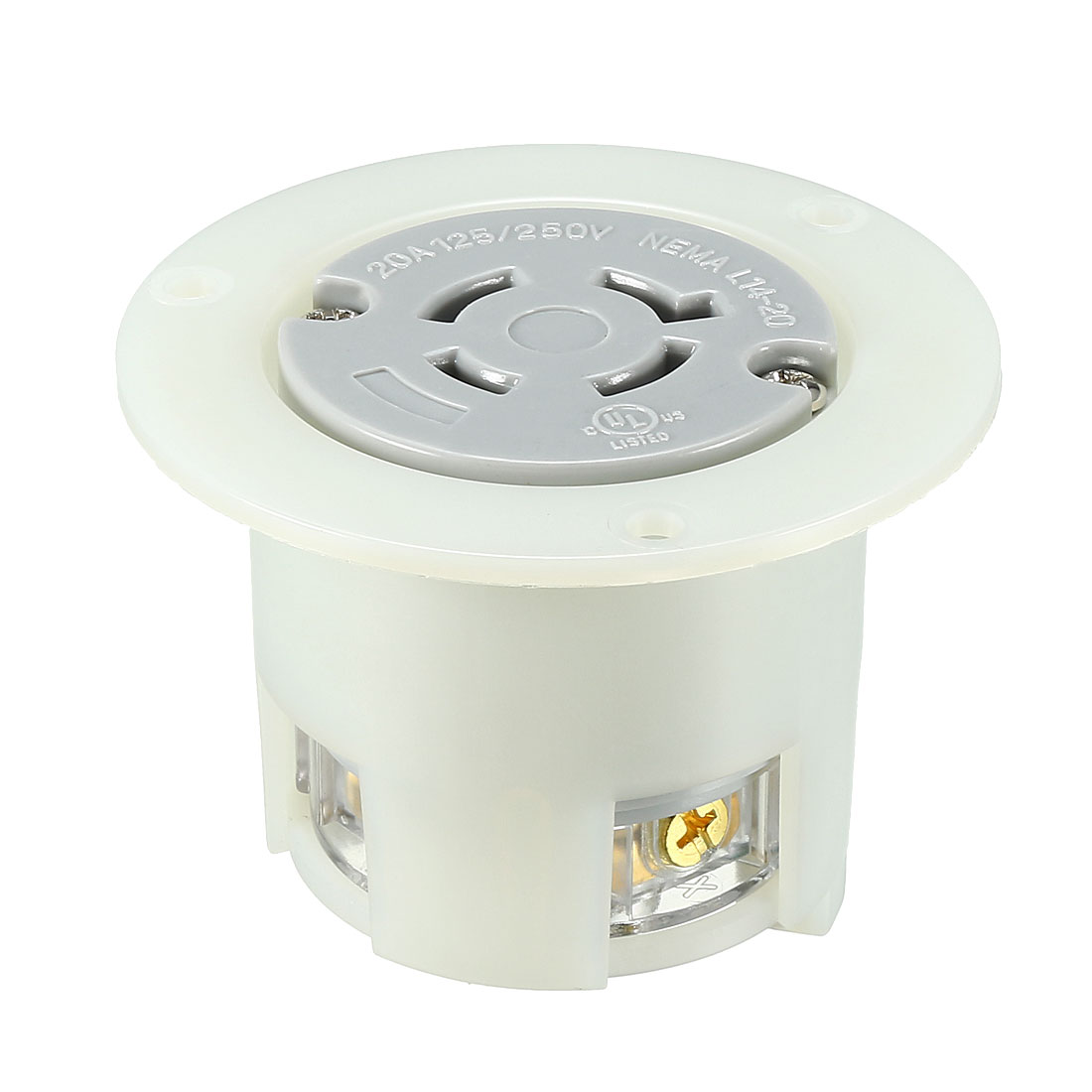 Locking Flanged Outlet NEMA L14-20C, 20A 125/250VAC, 3 Pole 4 Wire Grounding
