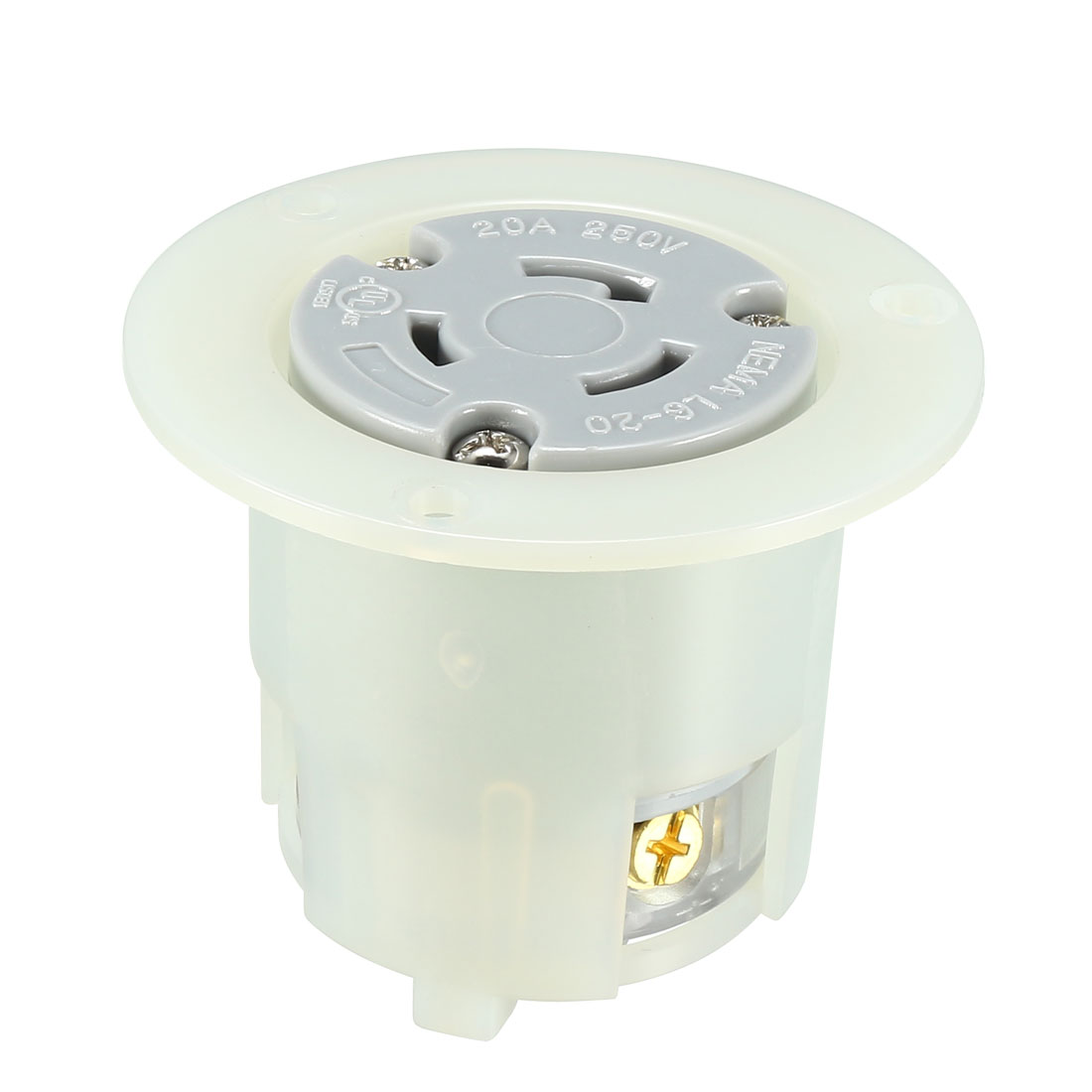 Locking Flanged Outlet NEMA L6-20C, 20A 250VAC, 2 Pole 3 Wire Grounding