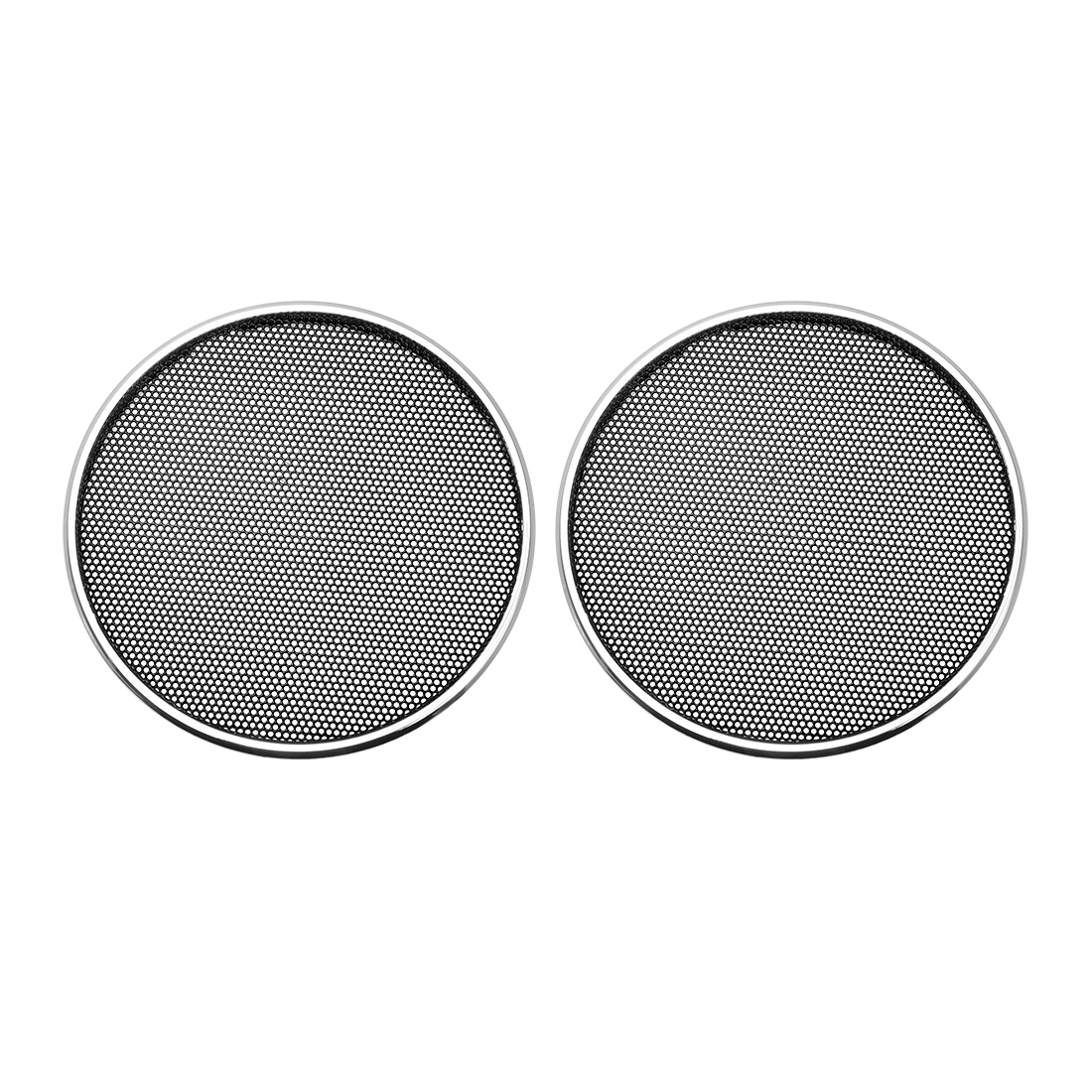 """2pcs 2"""" Speaker Grill Mesh Decorative Circle Woofer Guard Protector Cover Silver"""