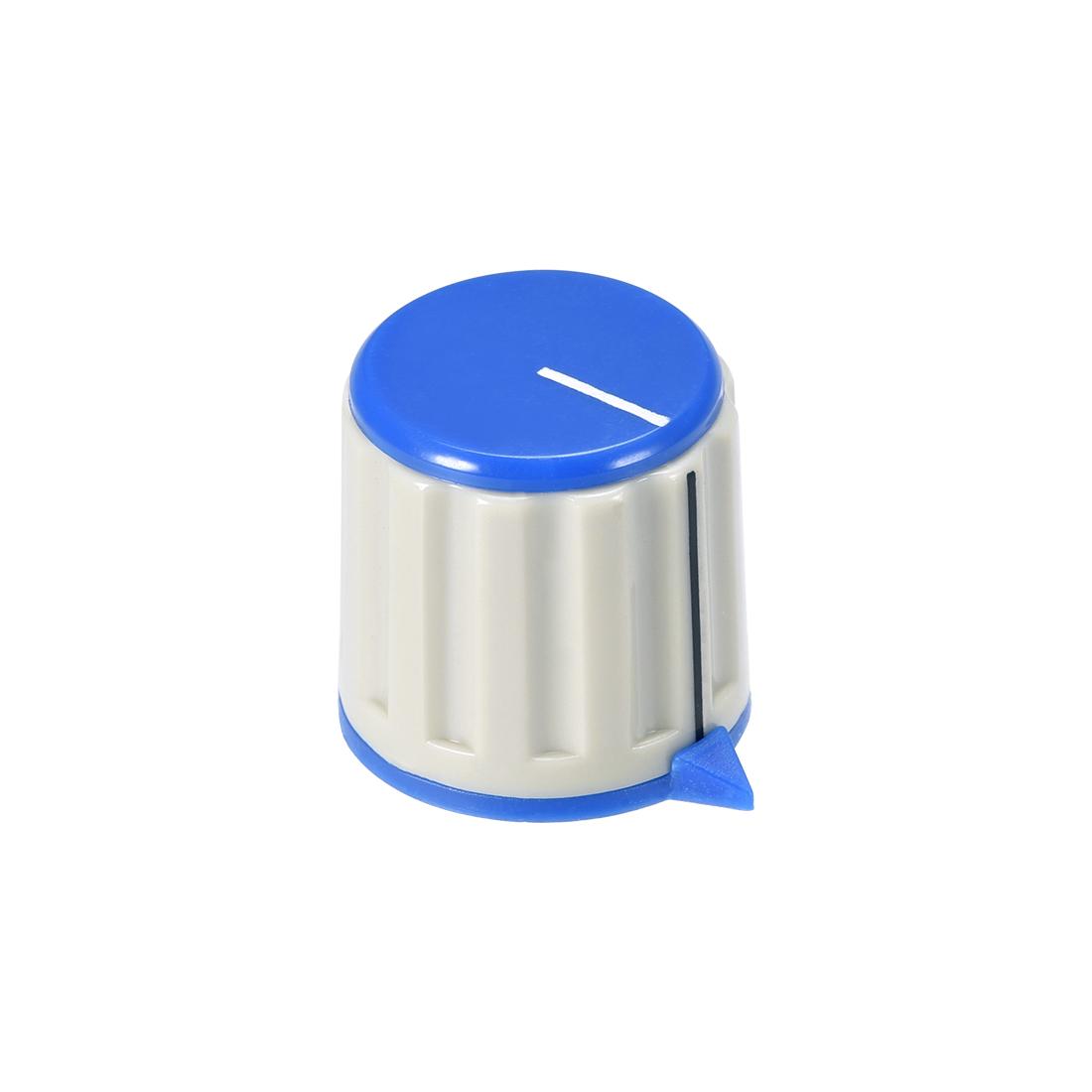 Plastic Potentiometer Rotary Knob 6mm Insert Shaft 21x21mm Blue Black