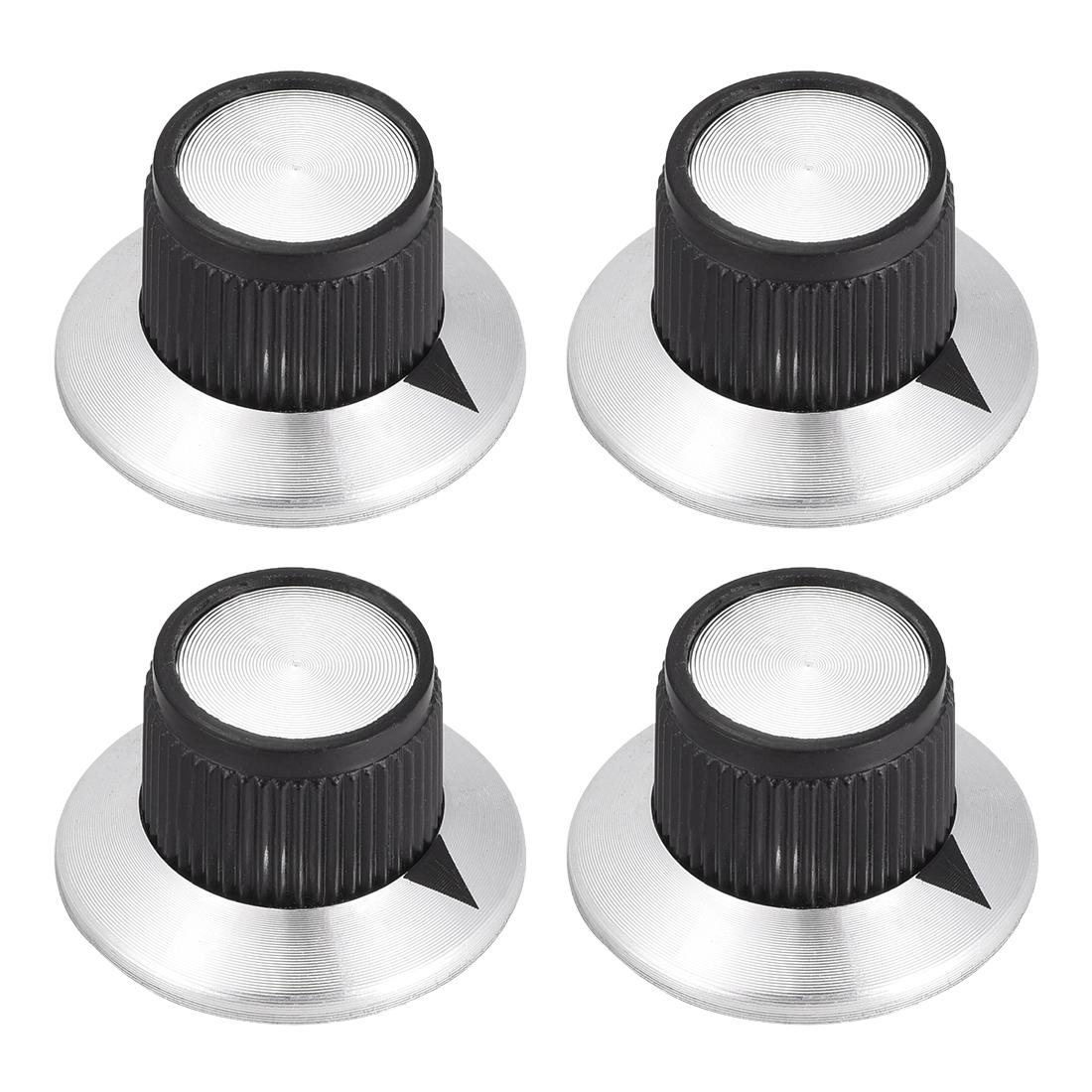 4pcs 6mm Potentiometer Control Knobs For Guitar Volume Tone Black Silver Tone