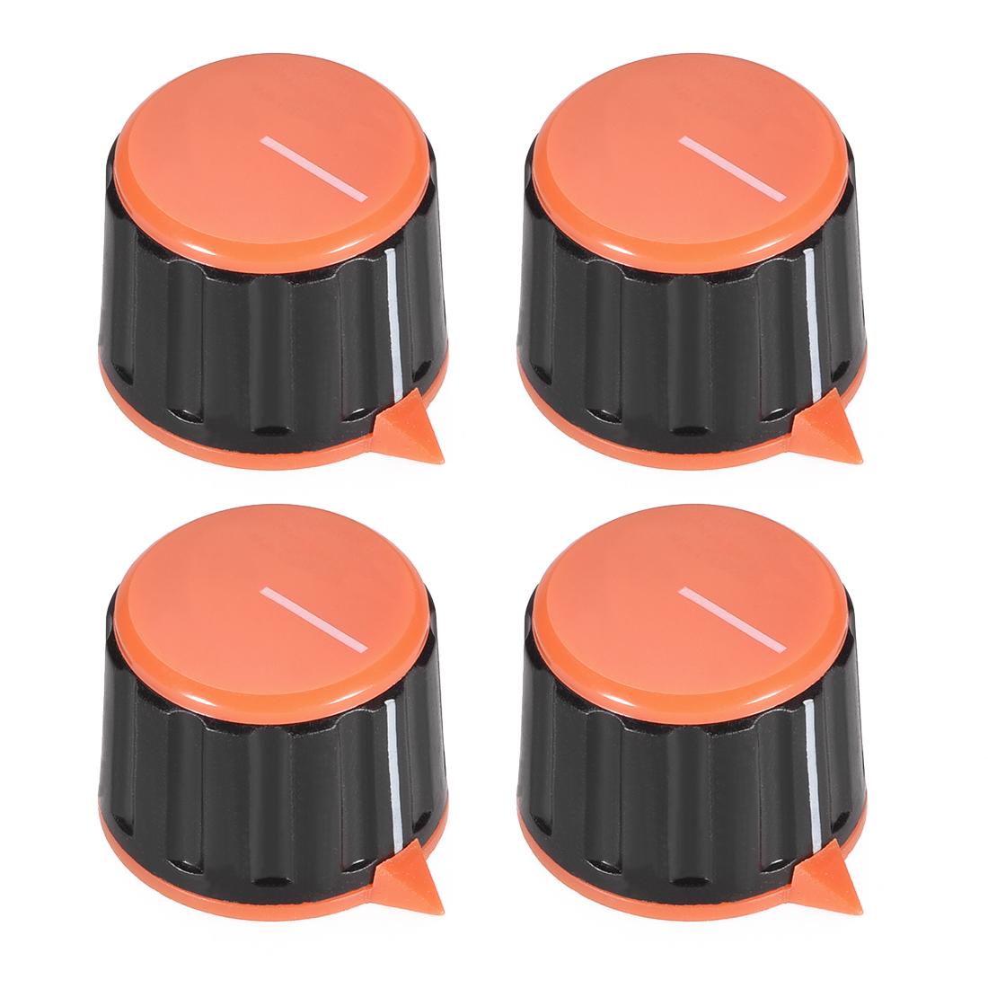 4pcs 6mm Potentiometer Control Knobs For Guitar Acrylic Volume Tone Knobs Orange