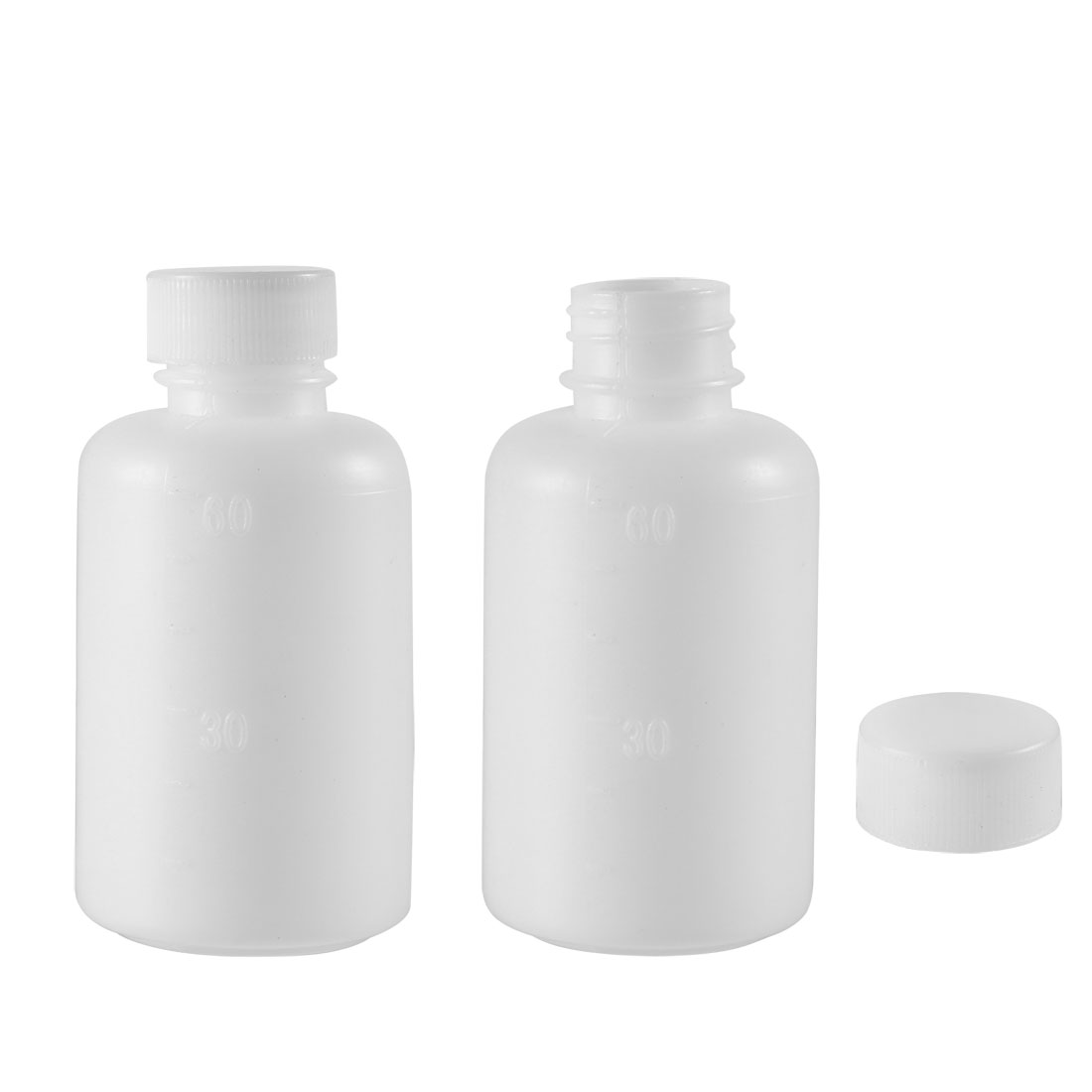 Plastic Lab Reagent Bottle 60ml/2oz Small Mouth Liquid Storage Container 2pcs