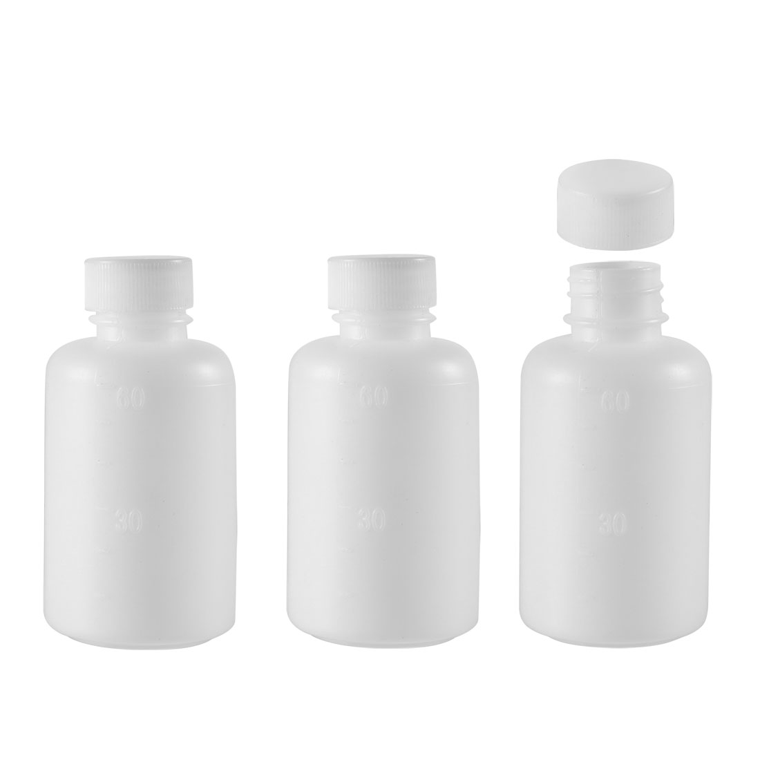 Plastic Lab Reagent Bottle 60ml/2oz Small Mouth Liquid Storage Container 3pcs