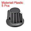 Plastic Potentiometer Rotary Knob 6mm Insert Shaft 25x20mm Black 5pcs