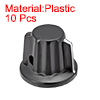 Plastic Potentiometer Rotary Knob 6mm Insert Shaft 25x20mm Black 10pcs