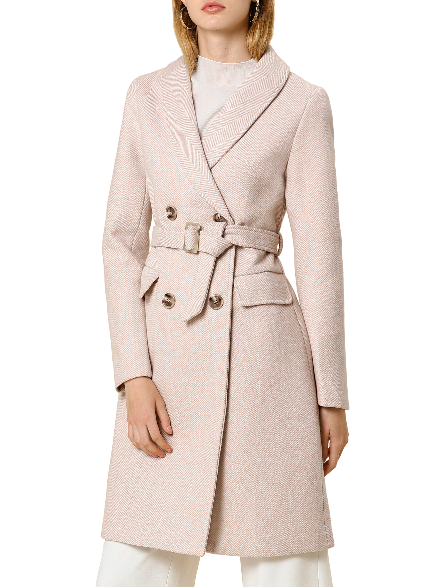 Allegra K Women's Double Breasted Belted Lapel Long Wool Coat Apricot XS (US 2)