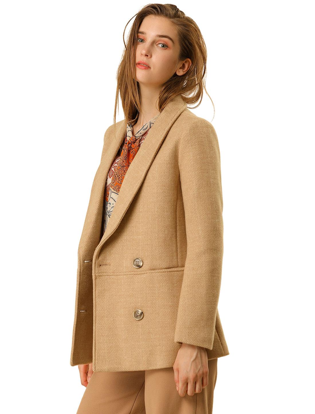 Women's Double Breasted Chevron Pattern Short Pea Coat Tan S