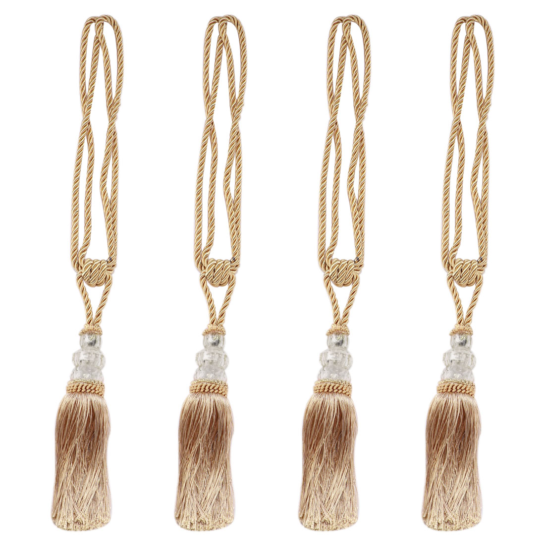 Curtain Tiebacks Holdbacks w Hooks Curtain Rope Holder 4 Set Bronze Tone + Beige