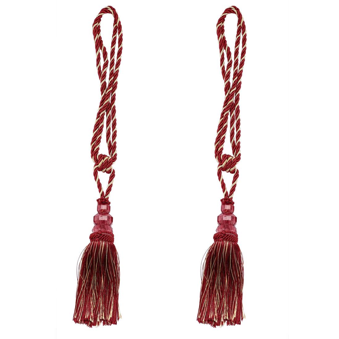 Curtain Tiebacks Holdback w Hooks Braid Rope Tessal 2 Set Copper Tone + Burgundy