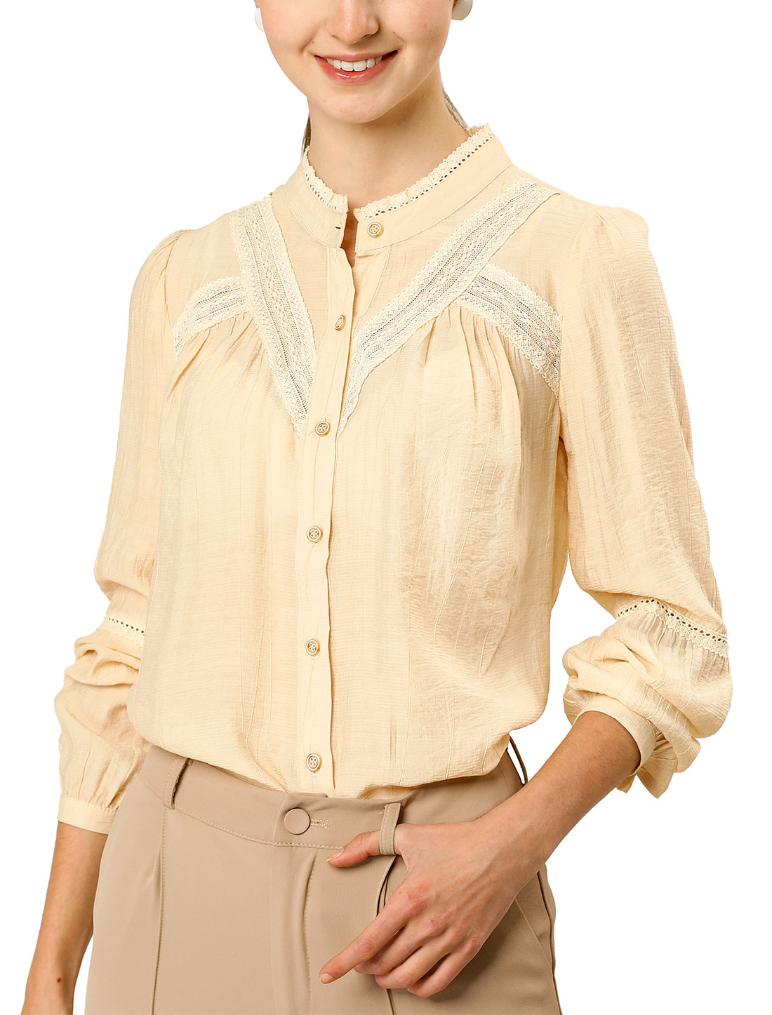 Allegra K Women's Fall Long Sleeve Blouse Boho Casual Button Down Shirt Beige L