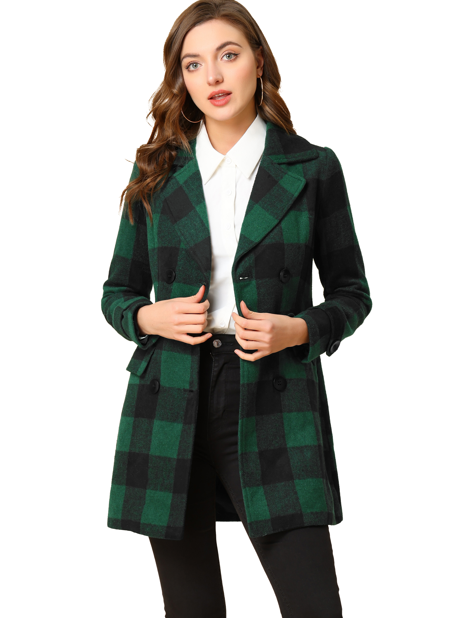 Women's Notched Lapel Double Breasted Plaids Coat Navy Blue Green XL