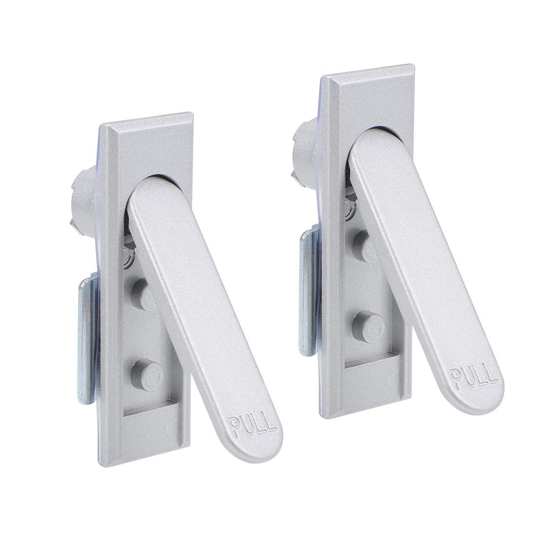 Electric Cabinet Panel Cam Lock Pull Type Door Lock Silver 2pcs