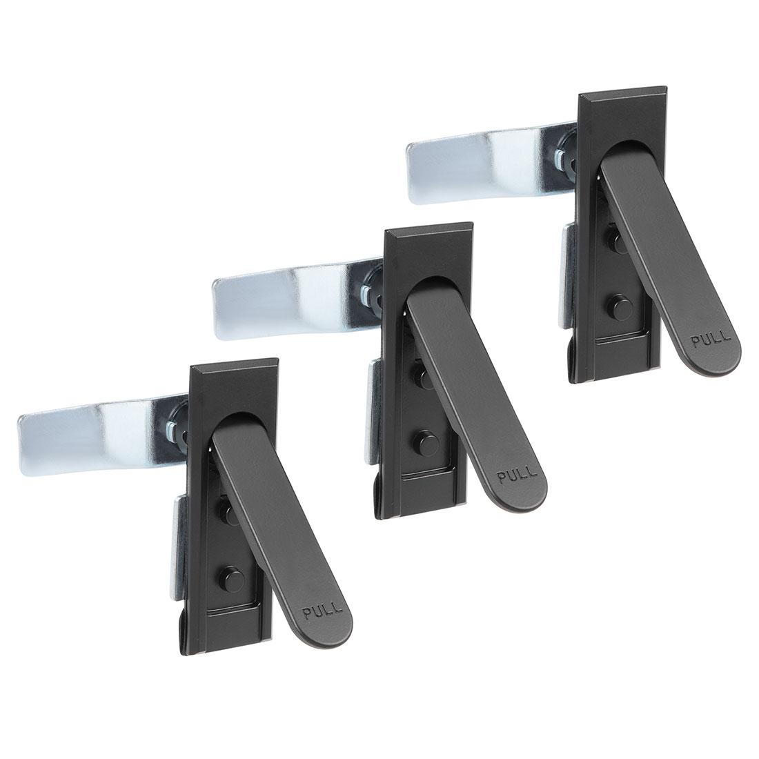 Electric Cabinet Panel Cam Lock Pull Type Door Lock Black 3pcs