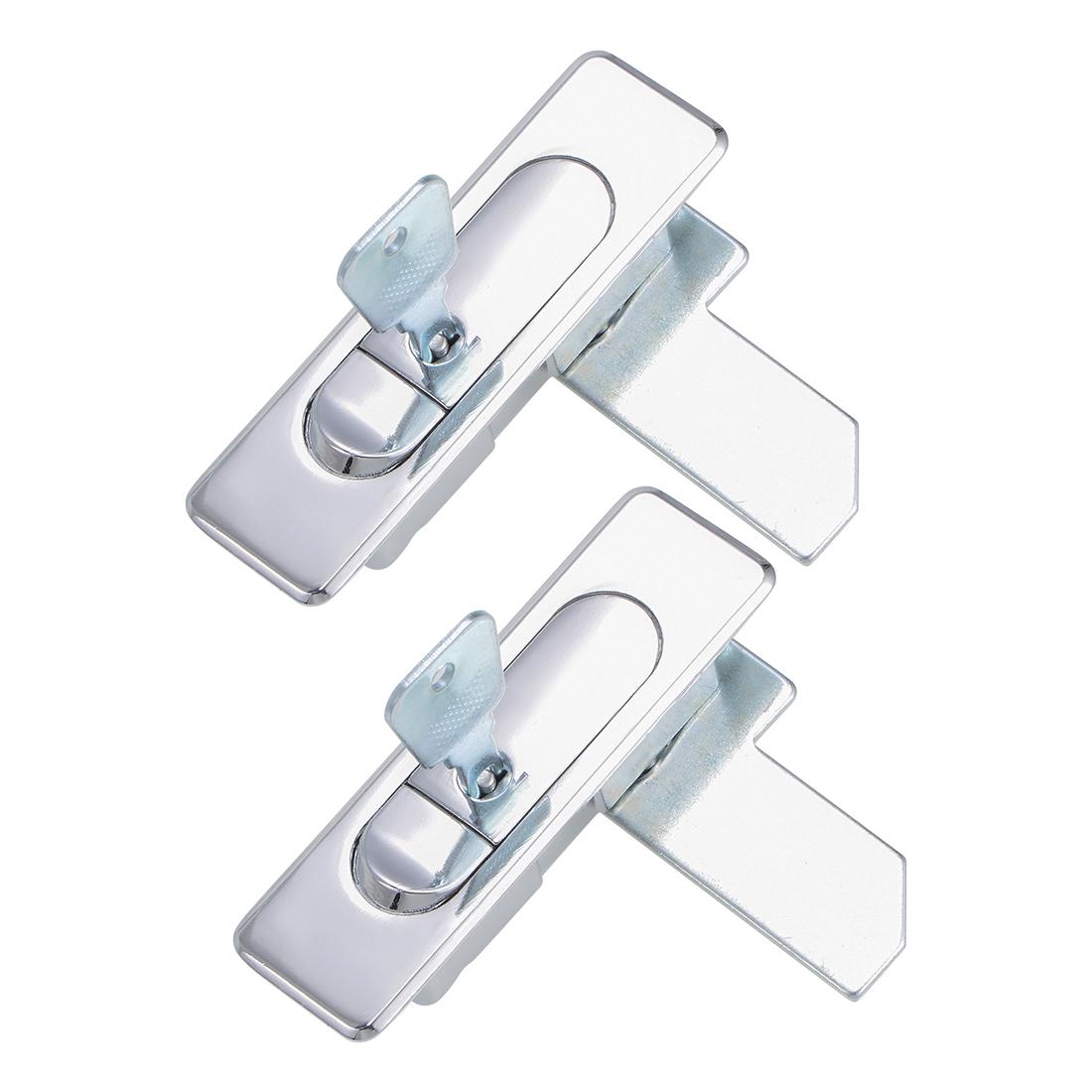 Electric Cabinet Panel Cam Lock Push Button Pop Up Door Lock w Key Glossy 2pcs