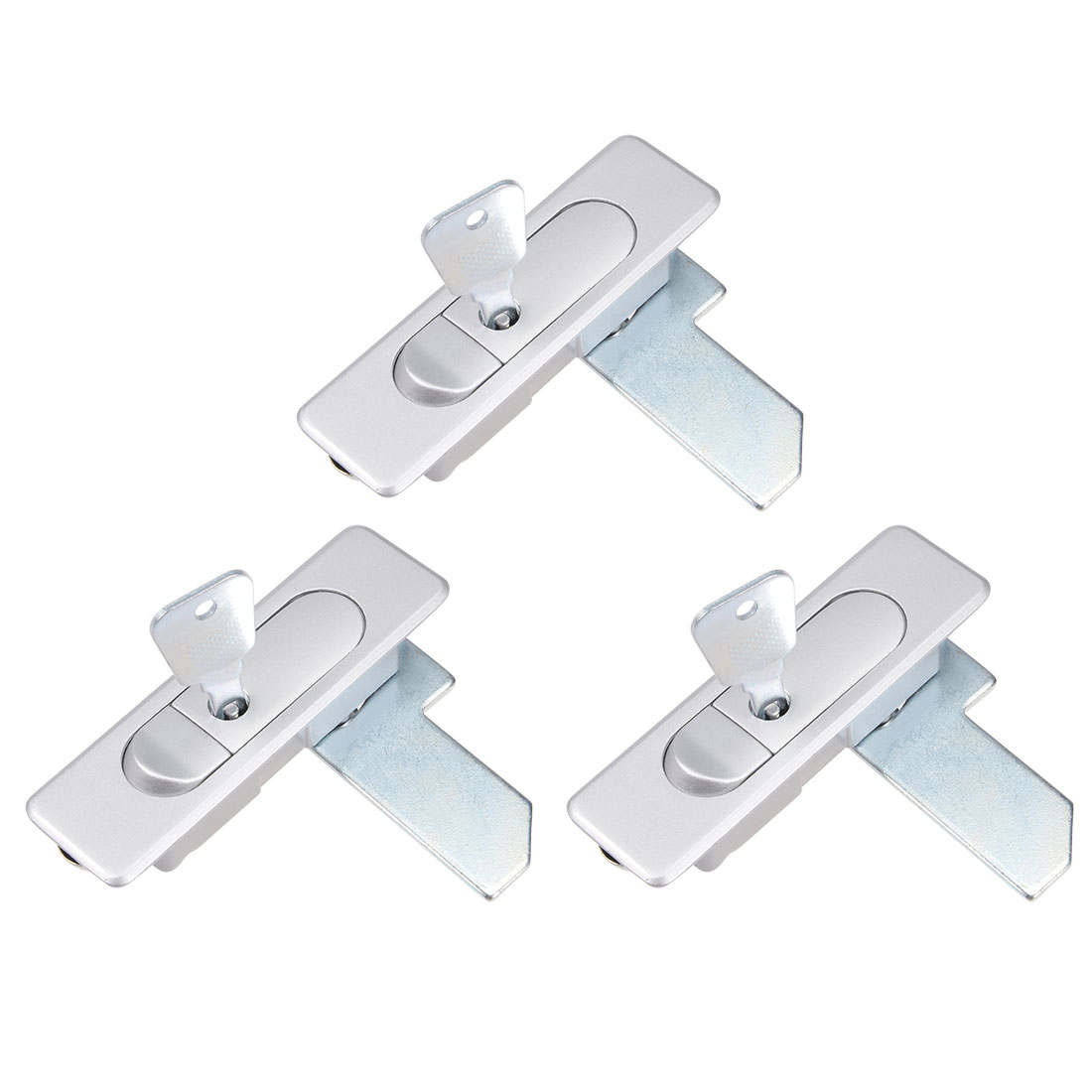 Electric Cabinet Panel Cam Lock Push Button Pop Up Door Lock w Key Frosted 3pcs
