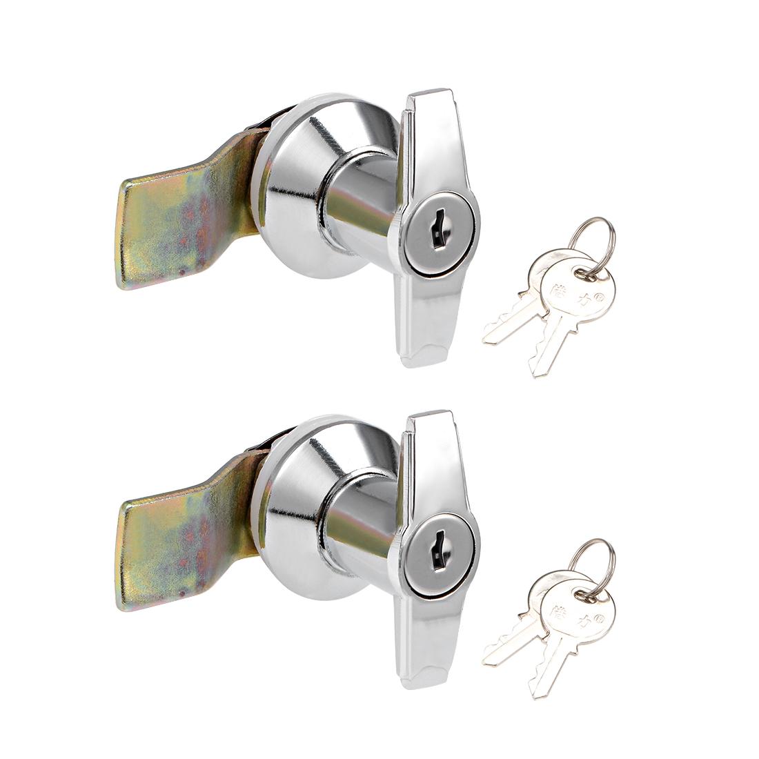 T-Handle Cam Locking Latch Keyed Shell Lock Zinc Alloy Chrome Plated 2Pcs
