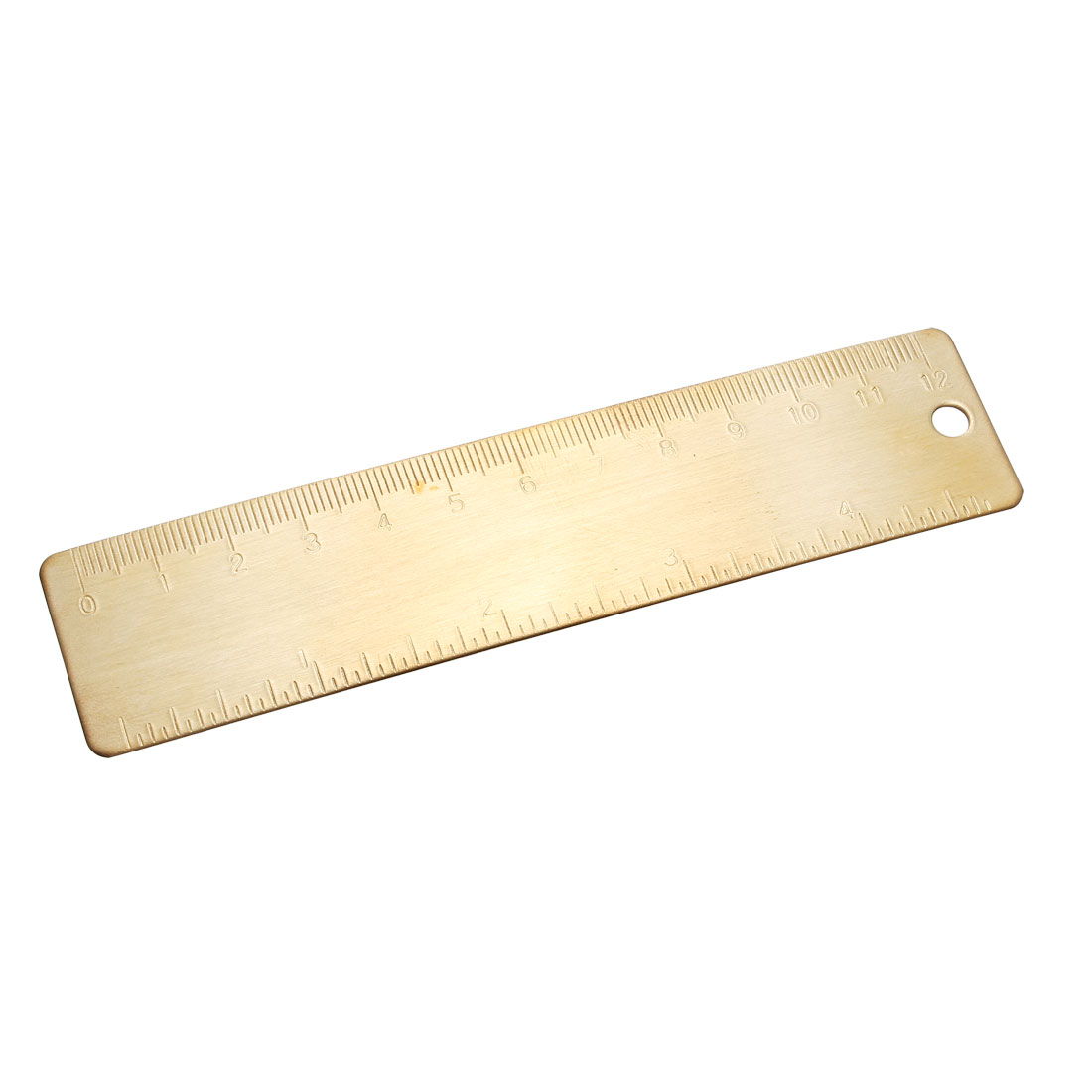 Straight Ruler 120mm Brass Measurement Tool Drawing Rulers with Hanging Hole