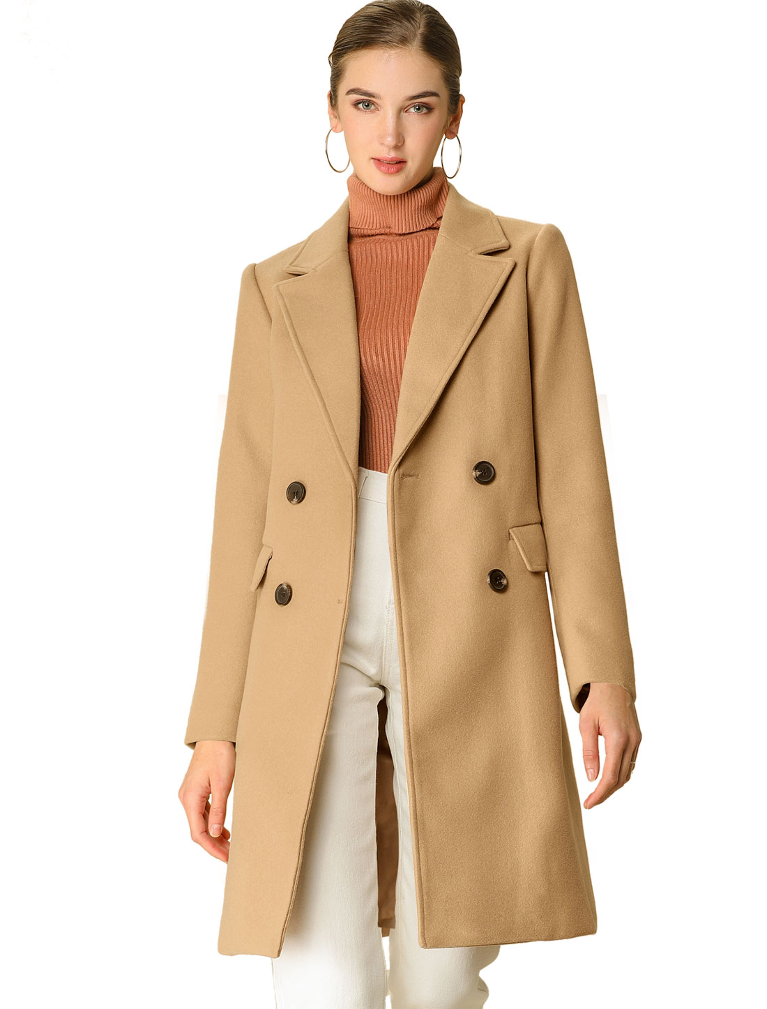 Allegra K Women's button Belt Long Jacket PeaTrench Coat Khaki M (US 10)