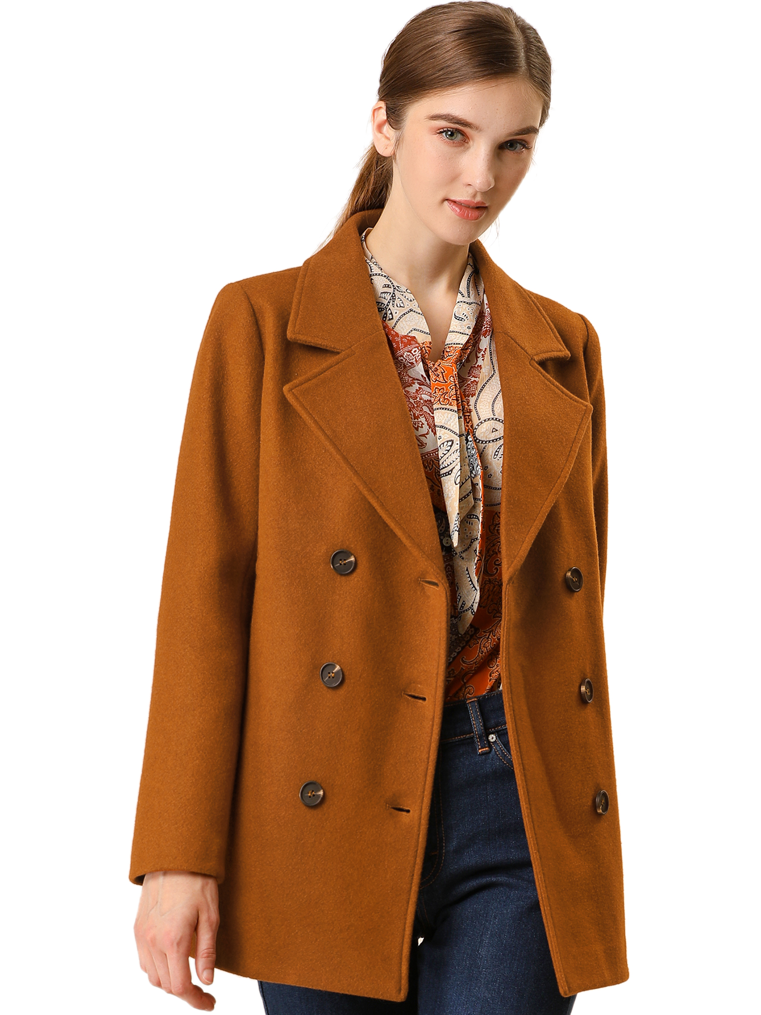 Women's Double Breasted Notched Lapel Pocket Mid Thigh Felt Coat Brown XS