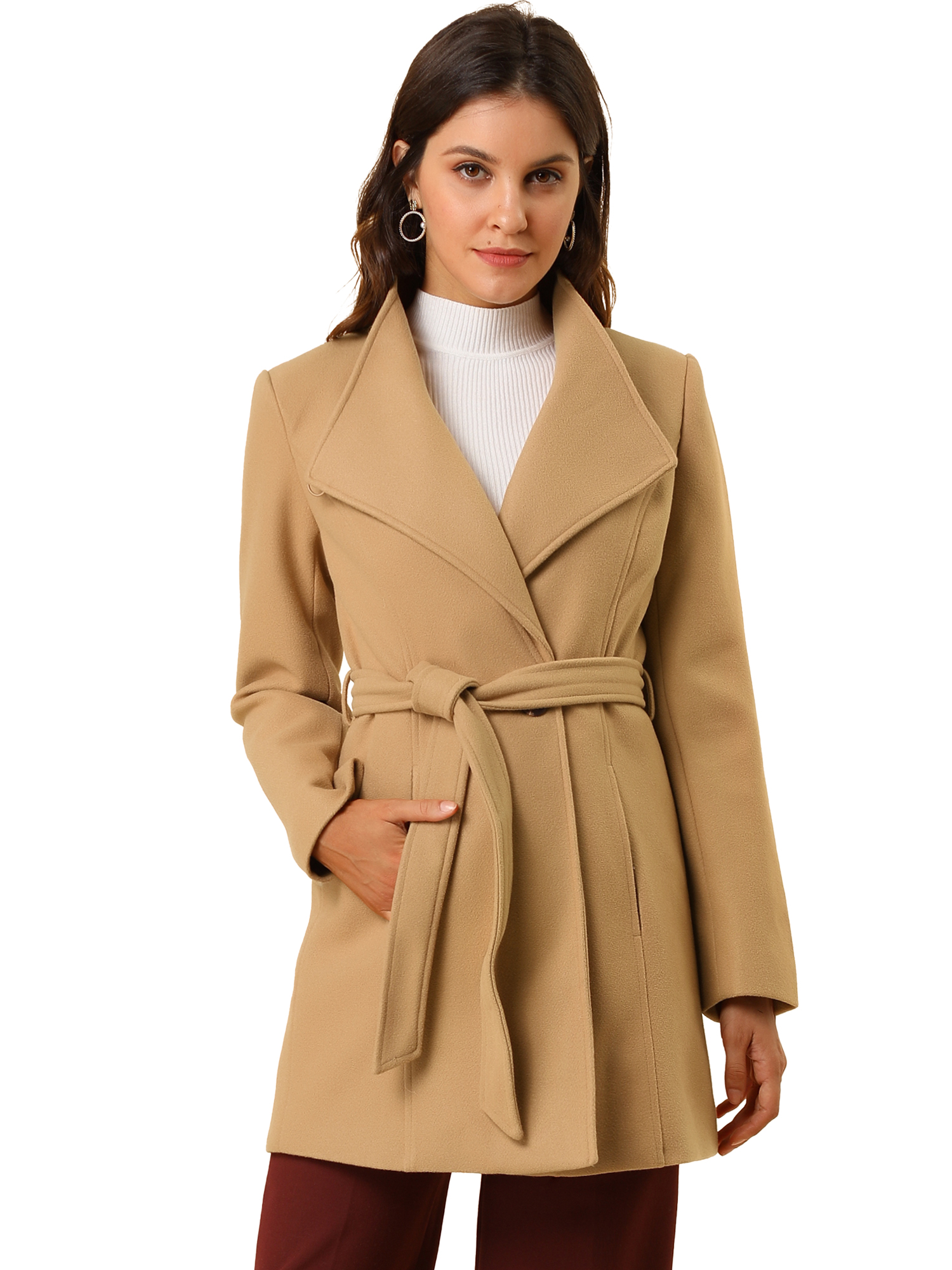 Allegra K Women's Classic Stand Collar Long Sleeve Belted Long Coat Khaki XL
