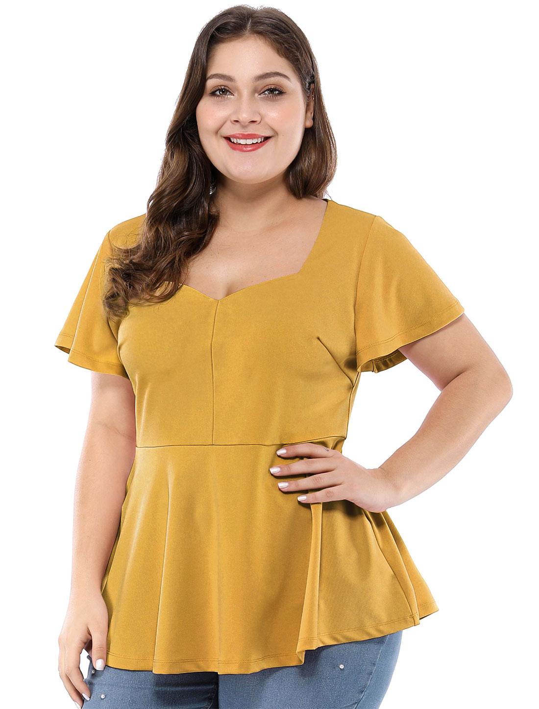 Women's Plus Size Ruffle Sleeves Sweetheart Peplum Top Yellow 1X