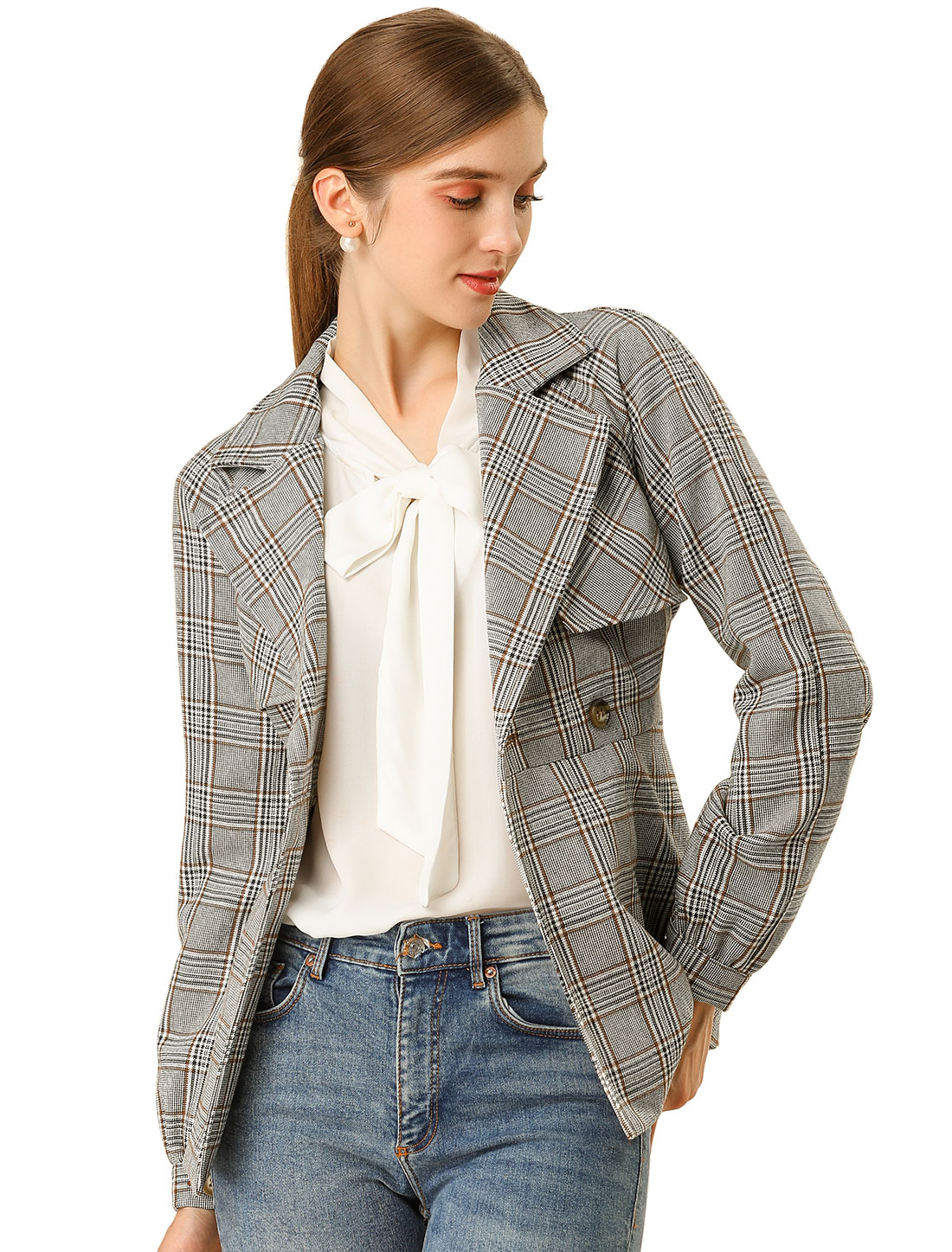 Allegra K Women's Plaid Jacket Button Outwear Checks Work Blazer Gray Khaki M