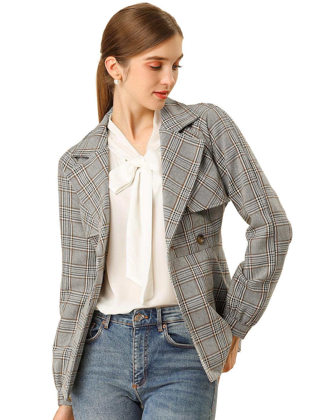 Allegra K Women's Plaid Jacket Button Outwear Checks Work Blazer Gray Khaki XL