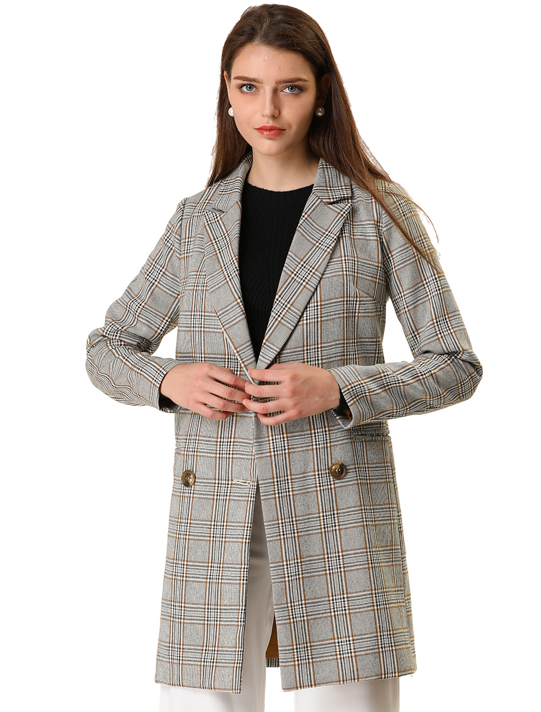 Women's Double Breasted Plaid Check Outwear Jacket Coat Gray Khaki M