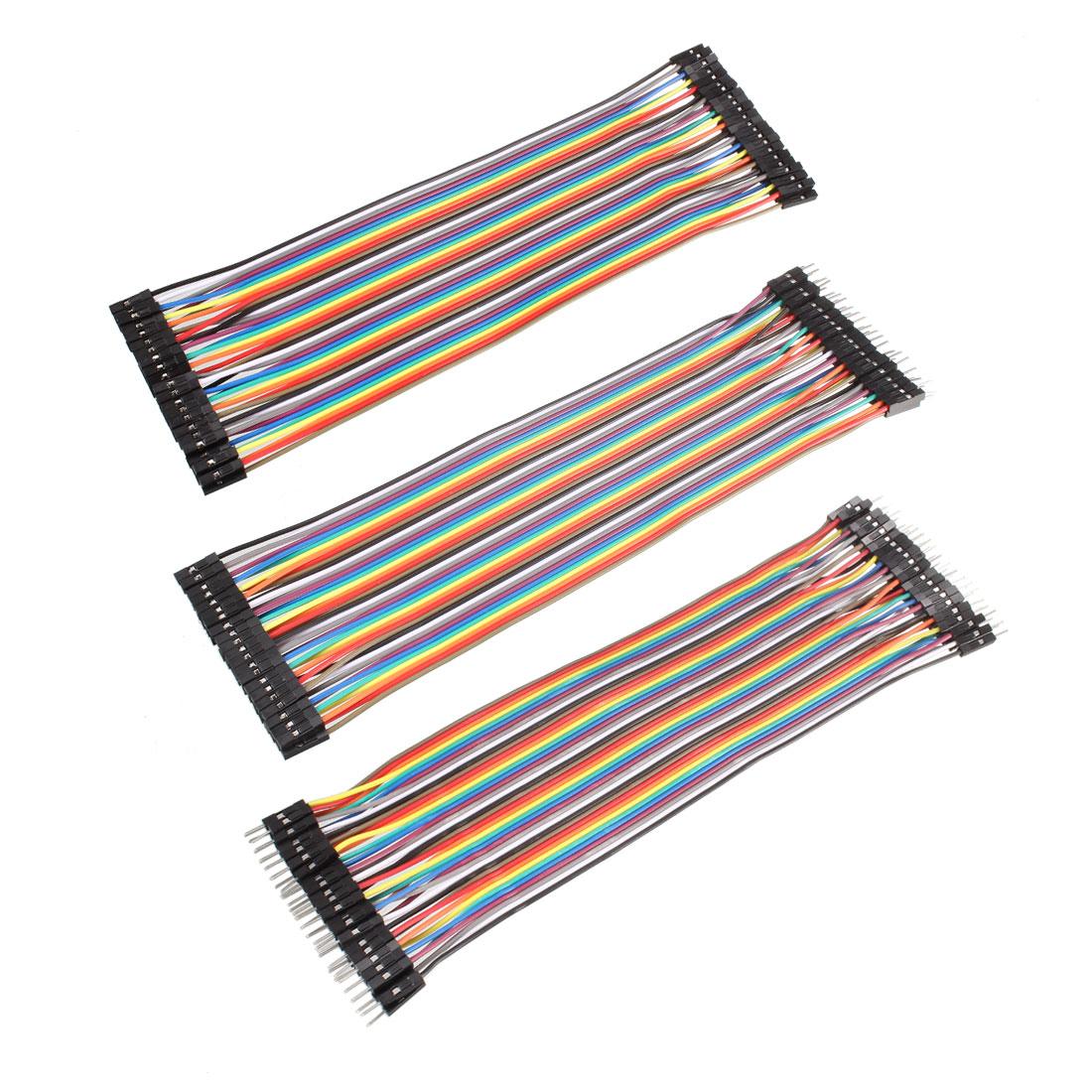 40P Breadboard Jumper Wire Ribbon Cable M/F F/F M/M 2.54mm Pitch 10cm Long 1Set