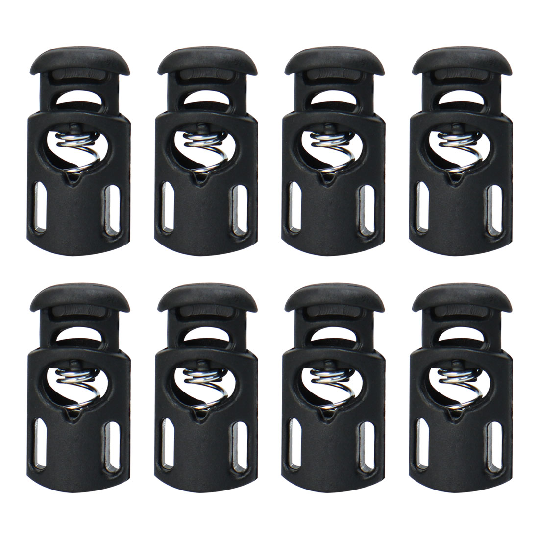 8pcs Plastic Cord Lock Stopper Spring Toggle Fastener Slider Organizer Black